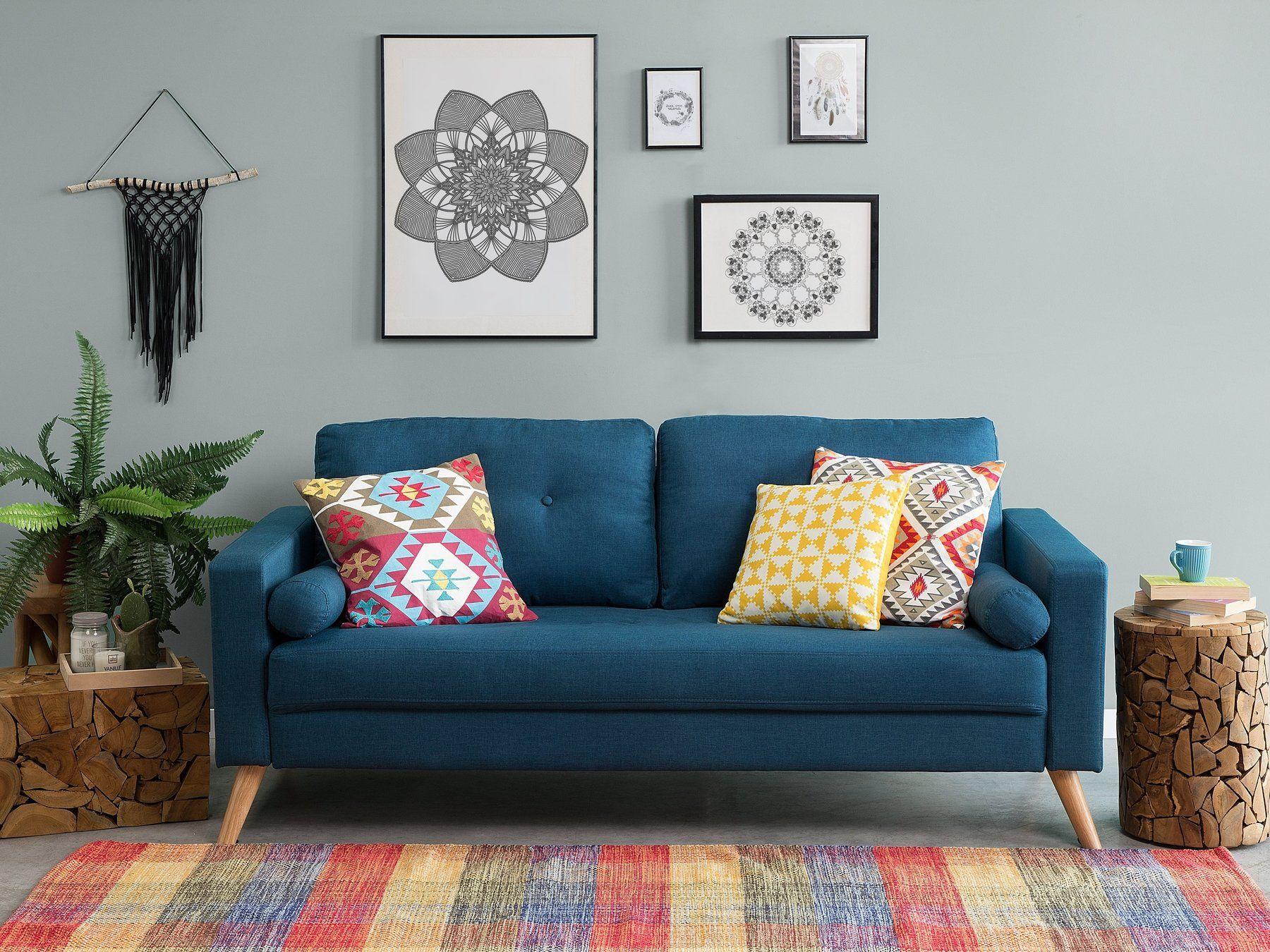 Schlafsofa Polsterbezug Kobaltblau Ronne Wohnkultur Schlafzimmer Sofa Stoff 2 Sitzer Sofa