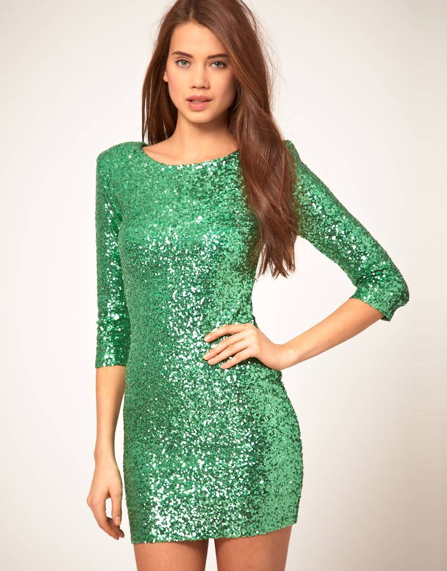 Emerald green dress for women  perfect  My Style Pinboard  Pinterest  Tfnc Sequins and Green