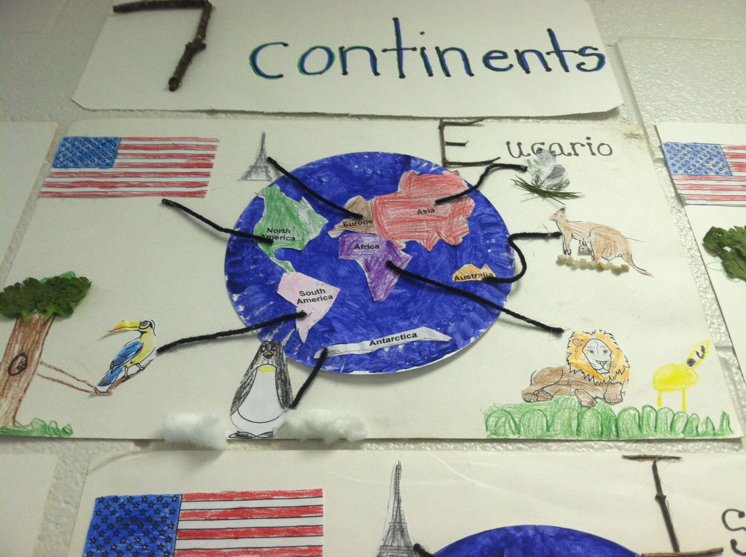 Continents Activity We Got Rocks For The Kangaroo Grass For The Panda Bear And Sticks To Make