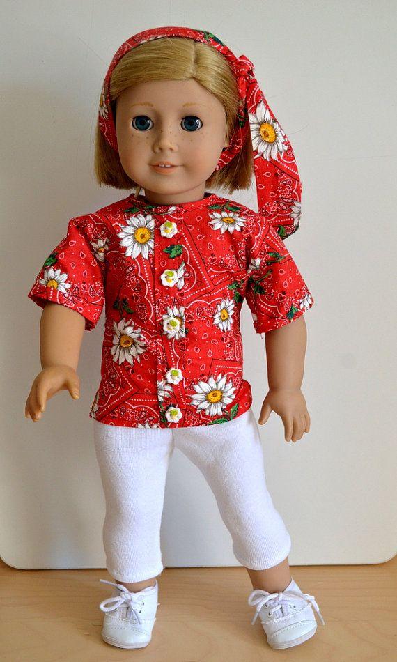 ba7999be41c3c American Girl Doll Clothes-Handmade-18 Inch Doll - Bandana Blouse - Red  with Daisy Buttons - Leggings-White Knit-Bandana Print Headband