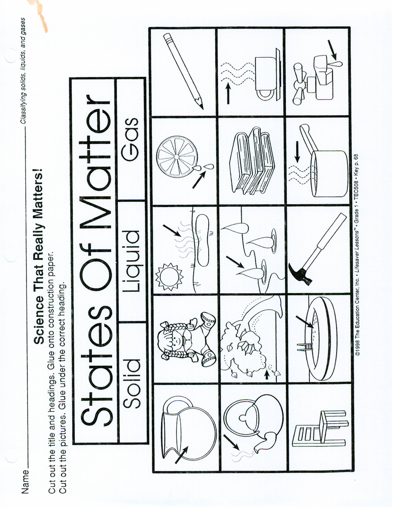 Page 1 - States of Matter worksheet (make a 3 part foldable- solid