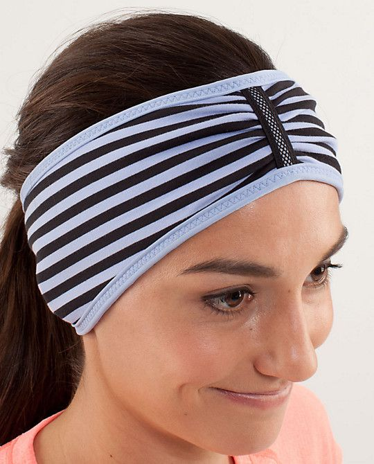 Women S Brisk Run Headband Polar Haze Black With Images Running Headbands Lululemon Headbands Headbands