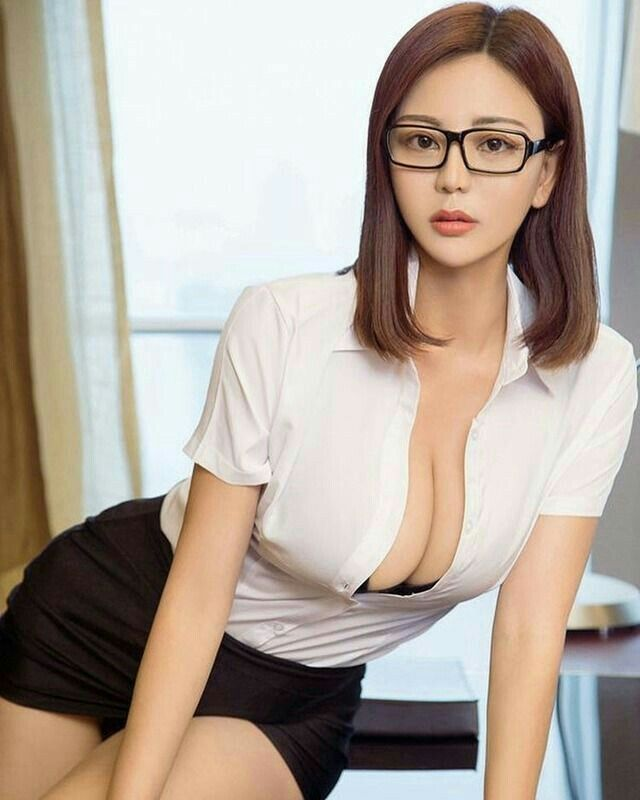 Sexy Chinese Businesswoman With Glasses Stock Photo