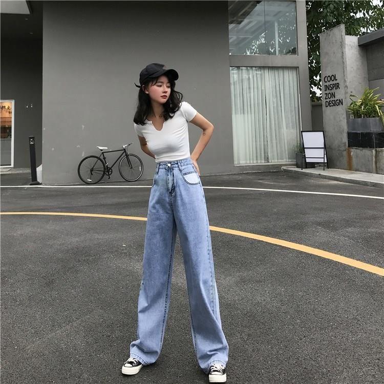 Vintage Blue Denim Pants Wide Leg Jeans Women High Waisted Casual Jeans Button Korean Streetwear Long Tr Wide Leg Jeans Outfit Korean Streetwear Wide Leg Denim