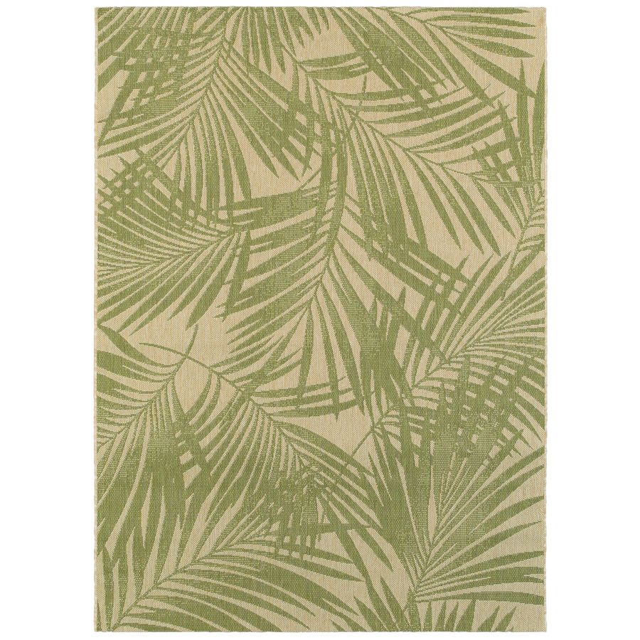Garden Treasures Pultney Essenza Green Sand Rectangular Indoor Outdoor Machine Made Tropical Area Rug Common 5 X Actual