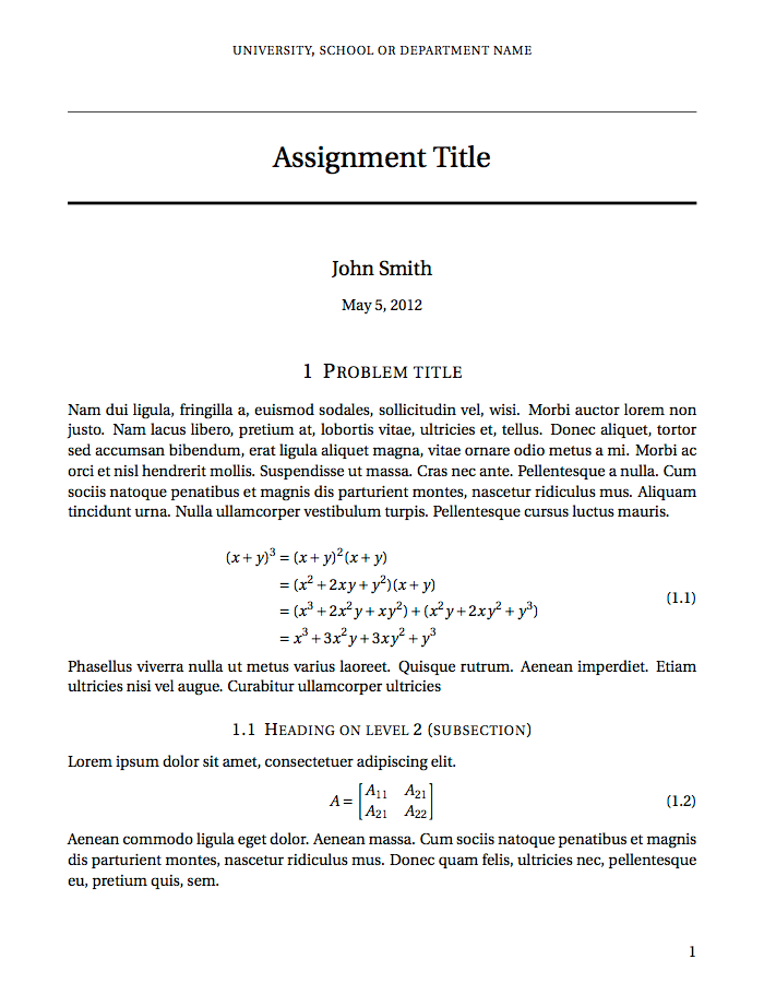 Short Sectioned Assignment Template  Latex Templates