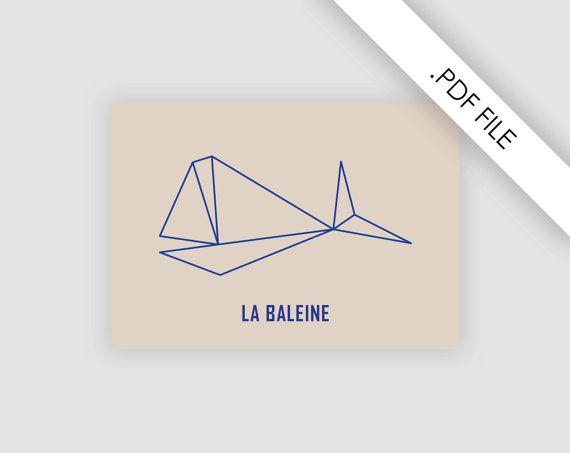 Poster walvis A4 'La baleine', Illustrator file, illustratie kinderkamer, crèche, directe download, PDF file