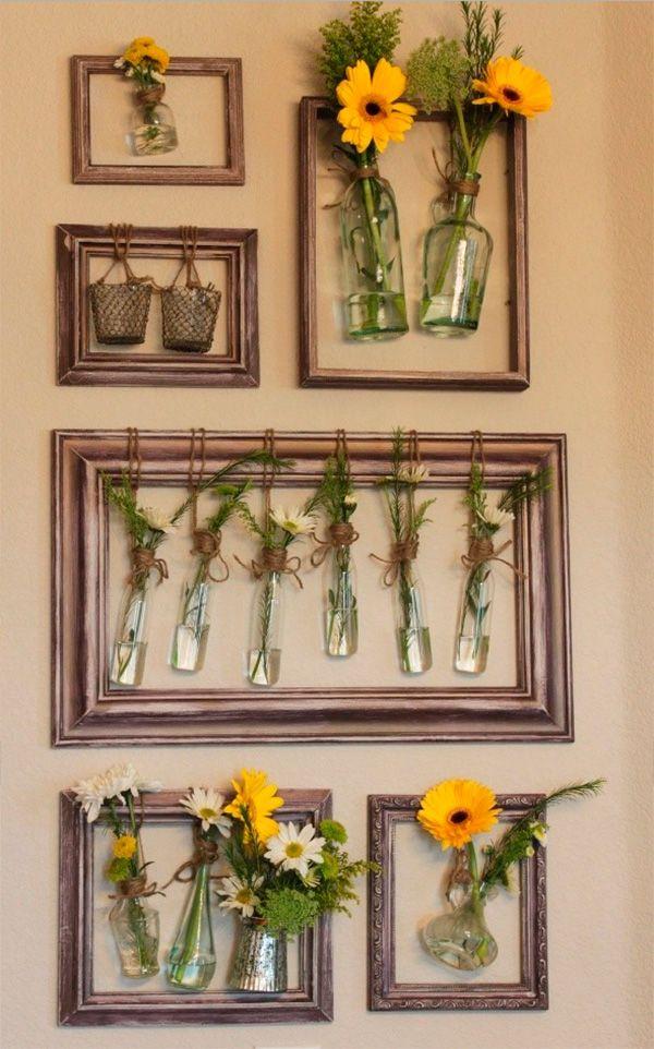 marco-de-madera-con-botellas-vidrio-diy-bottle … | decoración ...