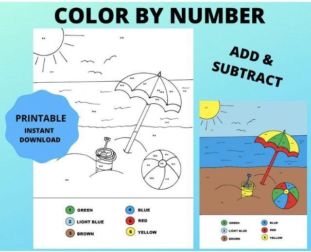 Printable Summer Beach color by number Math worksheet Kids | Etsy