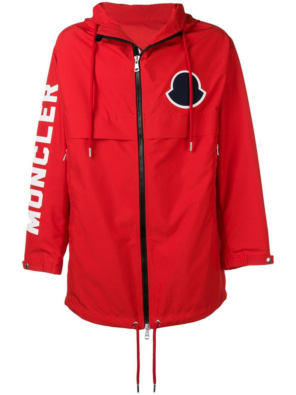 f2acfb768 Moncler logo print hooded coat - Red in 2019 | Products | Moncler ...
