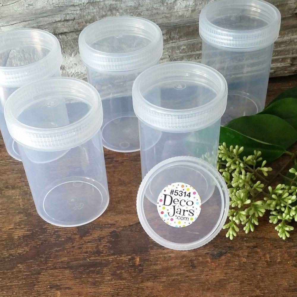 12 Plastic Jar Bottle Clear Cap Screw Top 3 Oz Herbs Polypr 5314