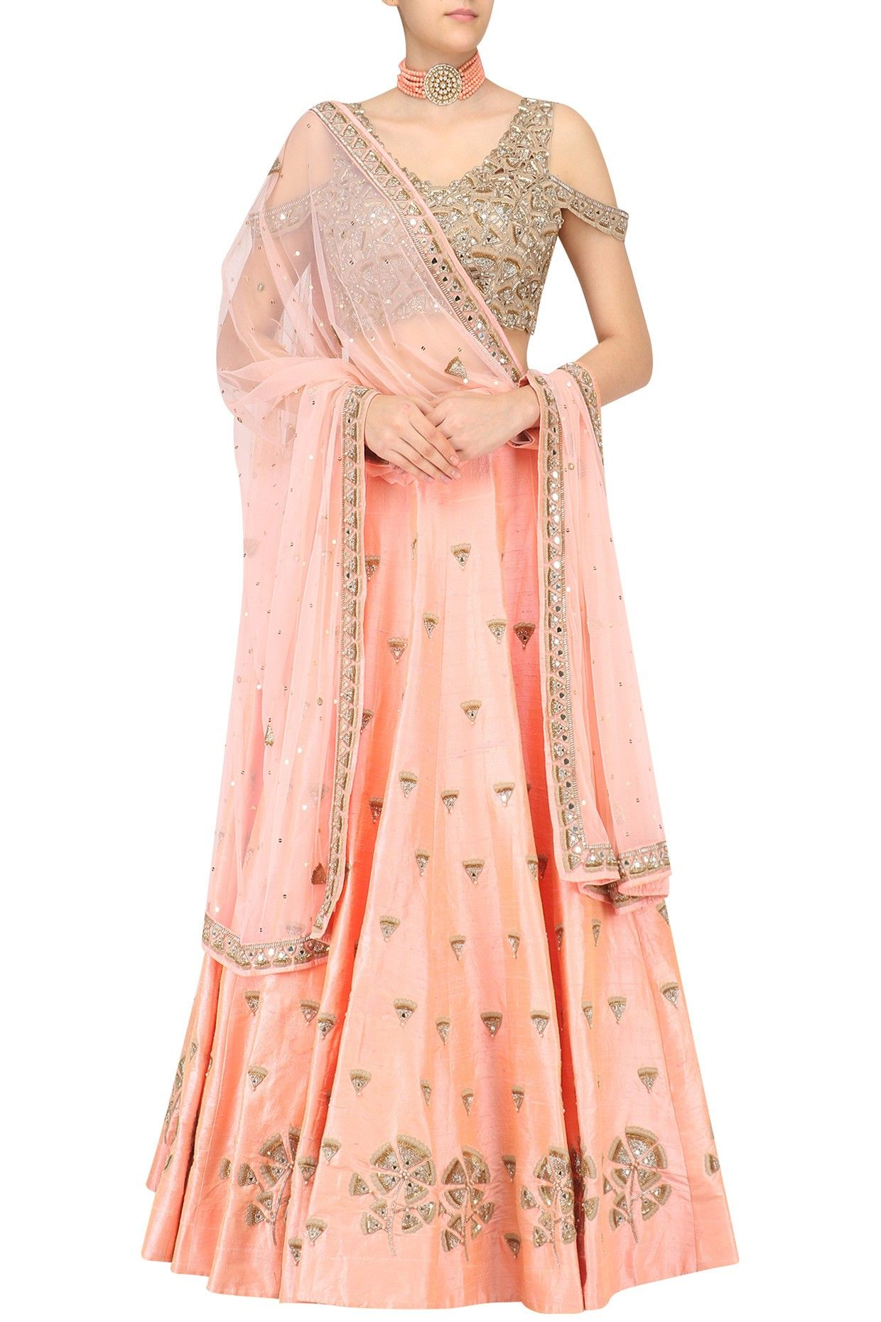 Nude Peach Gingko Embroidered Lehenga Skirt And Cold Shoulder Blouse