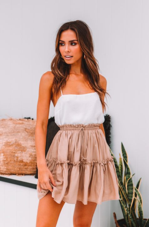 Endless Summer Skirt - Sand | Best seller alert! The perfect summer mini skirt in 100% cotton with elastic waist! #style #Accessories #shopping #styles #outfit #pretty #girl #girls #beauty #beautiful #me #cute #stylish #photooftheday #swag #dress #shoes #diy #design #fashion #outfits
