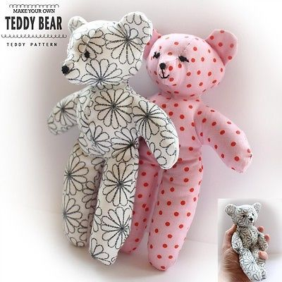 Teddy Bear Sewing PATTERN - Easy Craft Template - Make your own toy ...