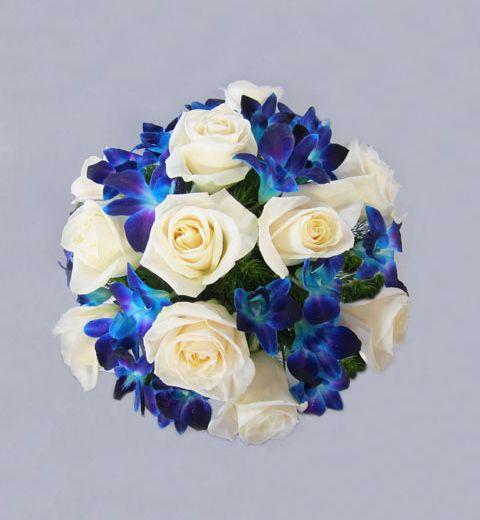 Blue Orchids Rose Bouquet Valley Florist San Jose
