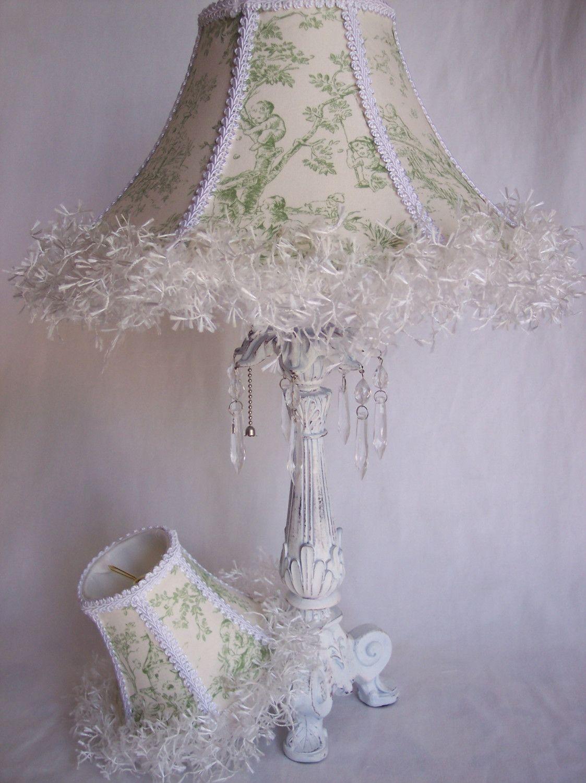 Veranda Lamp with Green Toile Shade. 175.00, via Etsy. in