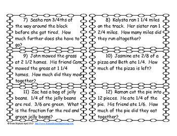 addition and subtraction fraction problem solving task cards math. Black Bedroom Furniture Sets. Home Design Ideas