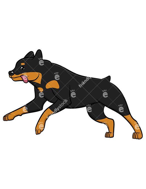 active rottweiler running vector cartoon clipart clipart of rh pinterest com Rottweiler Black and White Clip Art Rottweiler Drawings