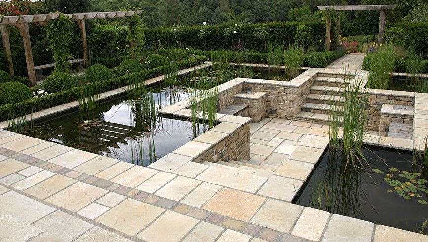 Eye level pond with sunken patio pangbourne berkshire for Garden pond design and construction