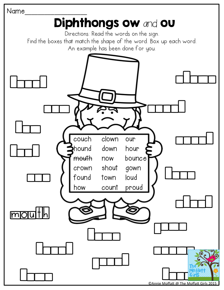 Diphthongs Ow And Ou Box Up The Words A Fun Way To Build Literacy