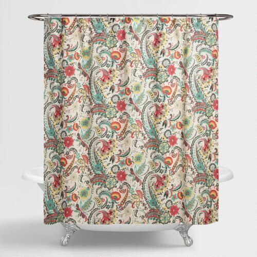 Infuse Vivacious Design Into Your Bathroom Featuring A Multicolored Floral Paisley Print This Shower Curtain Hangs Easily And Glides Swiftly