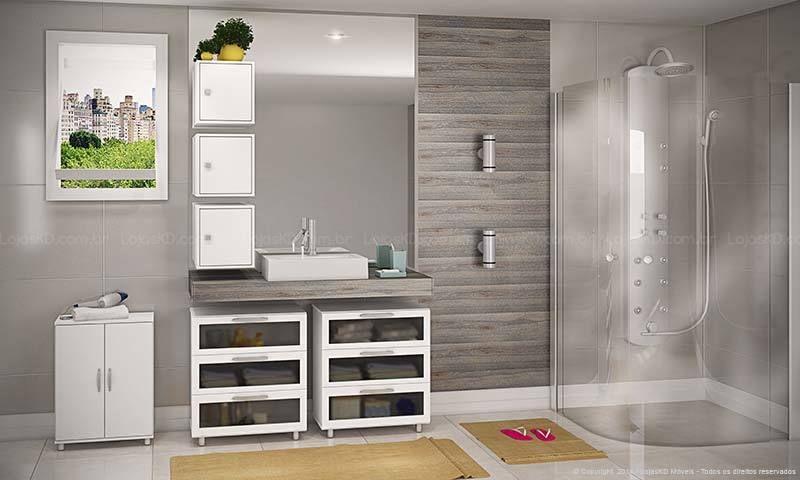 Conjunto para Banheiro com Armários, Balcão e Nichos Branco  Caaza  Banheir -> Armario De Banheiro Com Nicho