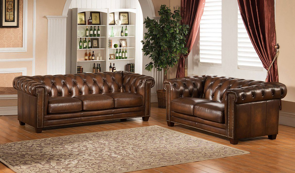How to find Hickory 2 Piece Leather Living Room Set by