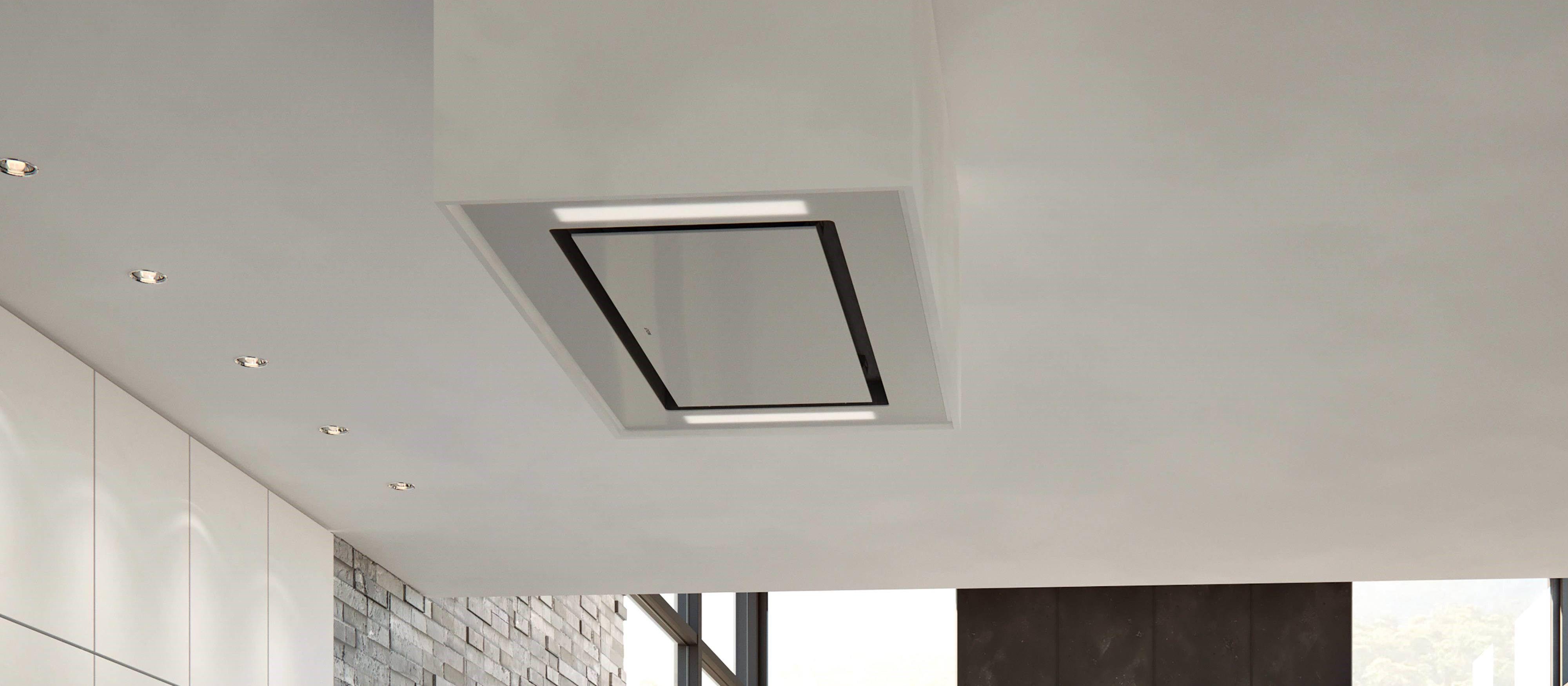 36 Ceiling Mounted Hood White Glass White Glass Glass Range