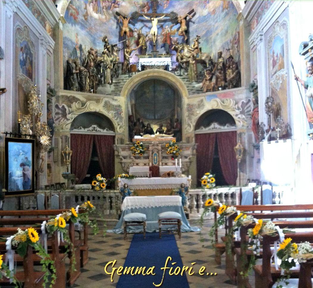 Matrimonio Girasoli Chiesa : Allestimento matrimonio con edera girasoli spighe e