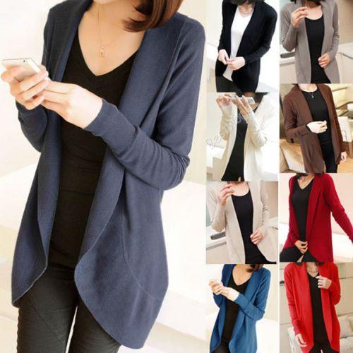 New Ladies Women Long Sleeve Knit Open Front Cardigan Top Jacket Jumper Coat #Unbranded #Cardigan