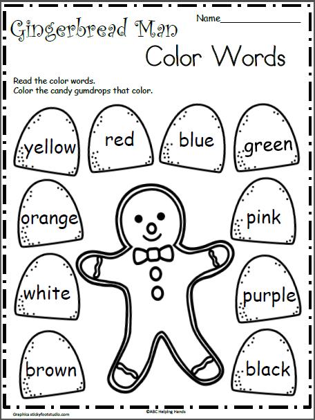 gingerbread man color words teaching techniques christmas worksheets gingerbread man. Black Bedroom Furniture Sets. Home Design Ideas