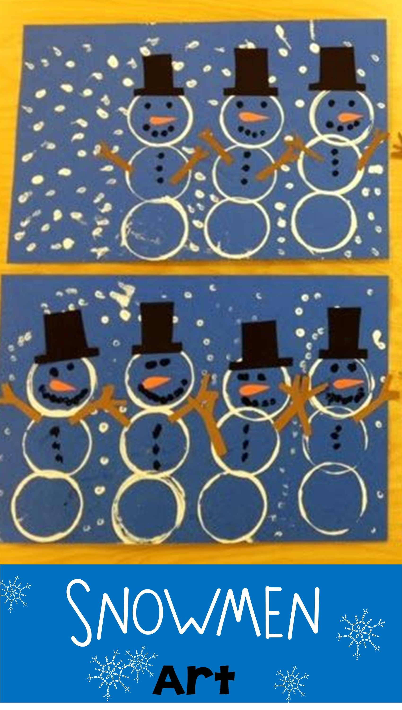 Kindergarten Snowmen Use Cups Dipped In Paint To Stamp The Snowmen