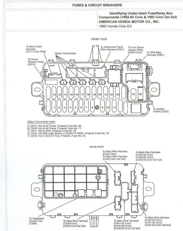 Civic Eg View Topic 92 95 Civic Fuse Box Diagrams Engine Bay And Under Dash รถยนต