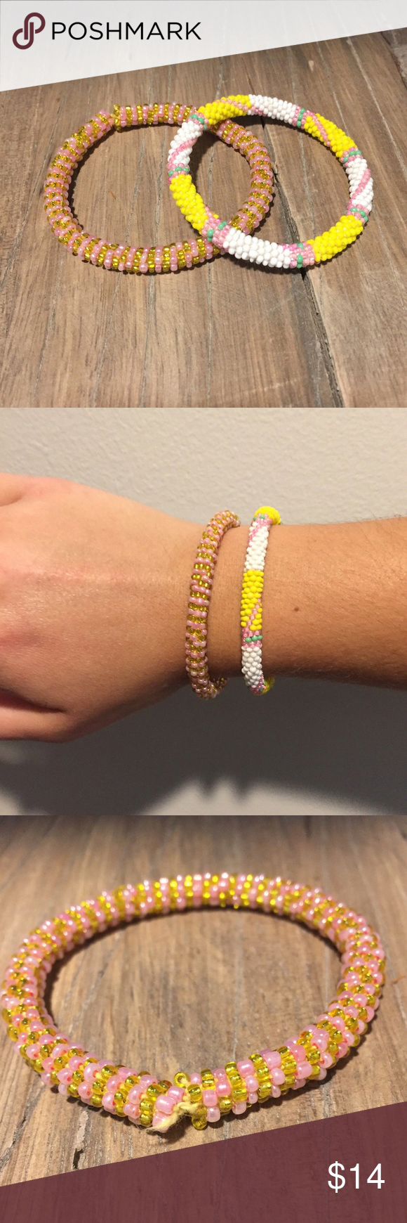 Wedding decorations set october 2018 Lily and Laura Beaded Bracelet Set lightly used yellow and pink