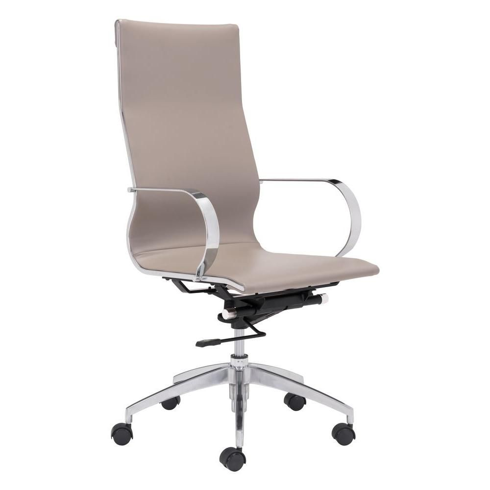 Glider Taupe Brown Leatherette High Back Office Chair