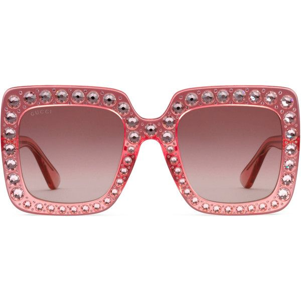 1f5b01e9301 Gucci Oversize Square-Frame Acetate Sunglasses With Crystals ( 965) ❤ liked  on Polyvore featuring accessories