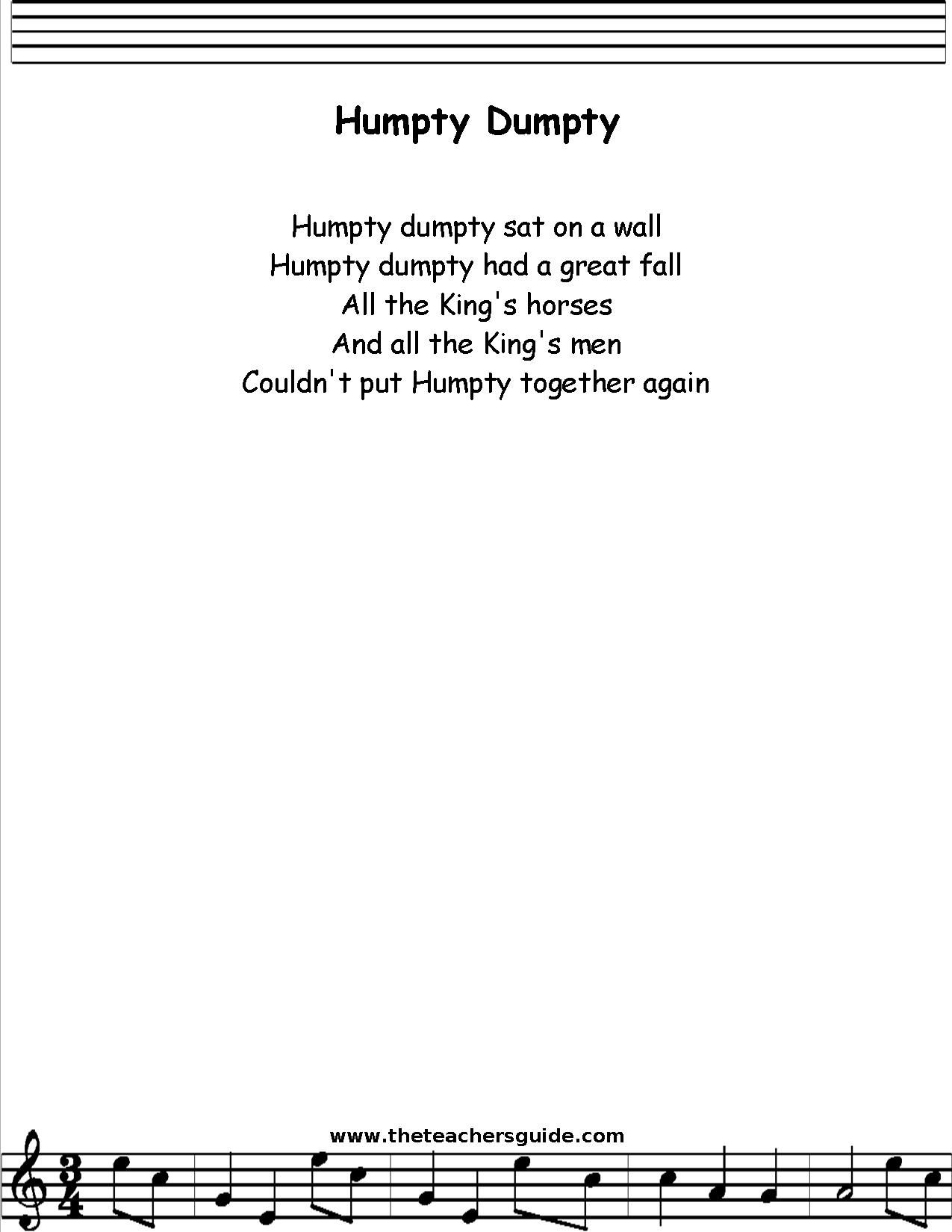 Humpty Dumpty Lyrics Printout