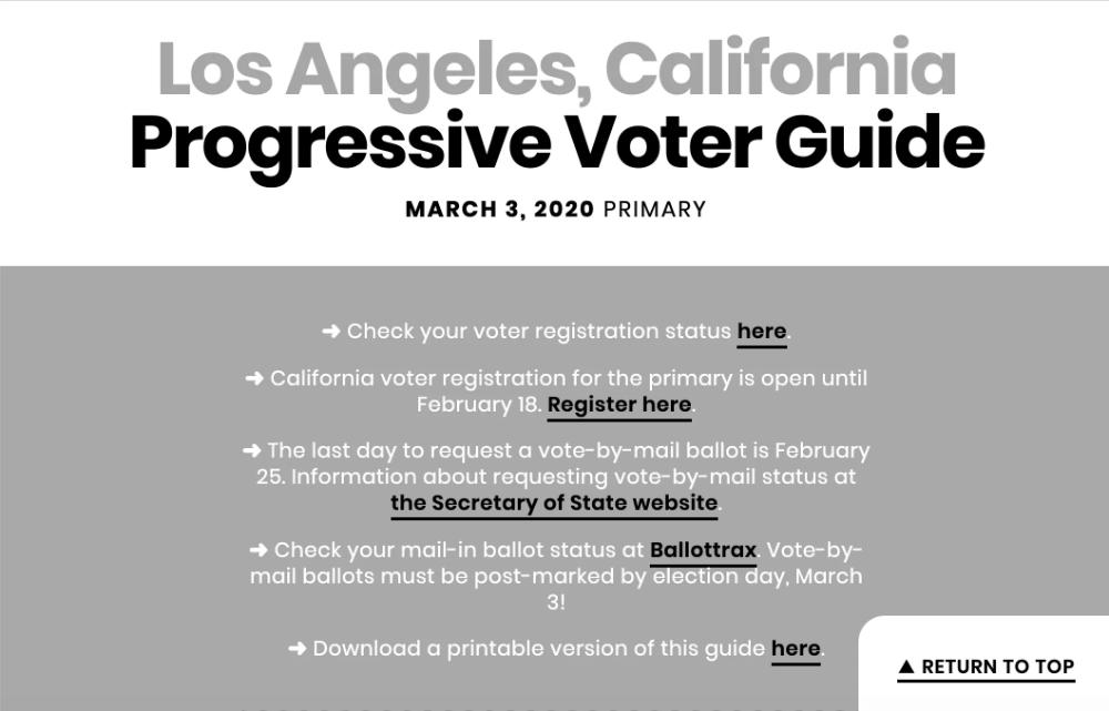 Los Angeles Primary Progressive Voter Guide Graphic Design Voter Registration Los Angeles