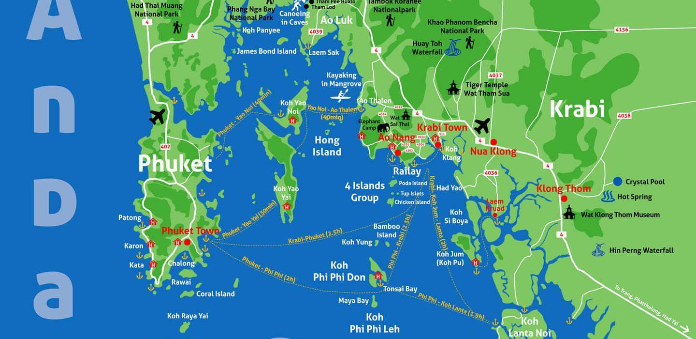 Touristic Map Of The Andamansea In Krabi James Bond Island