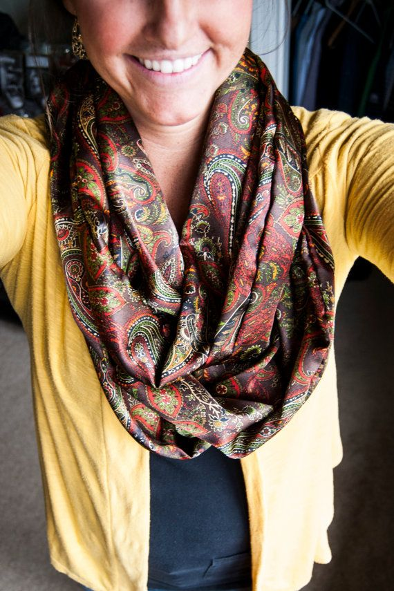 Silky+Shiny+Paisley+Gold+Infinity+Scarf+by+DesiringJoy+on+Etsy,+$25.00
