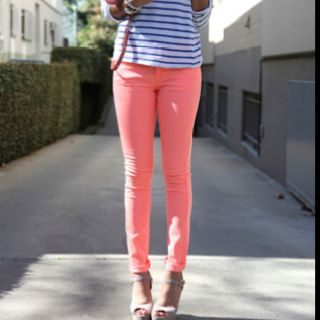 peach colored jeans