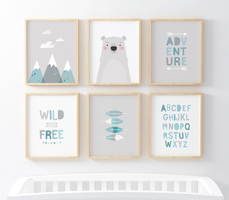 Adventure Nursery Wall Art Nursery Prints Nursery Decor Grey Nursery Prints Nursery Art Wild And Free Set Of 6 Baby Boy Gift Neutral Art Wall Kids Childrens Wall Art Print Nursery Prints