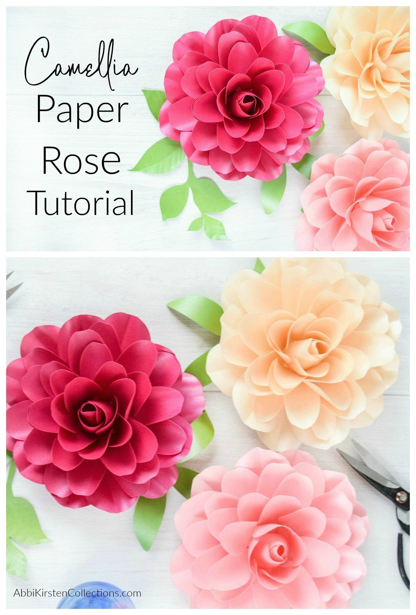 How To Make Small Paper Roses Camellia Rose Template Tutorial With Images Paper Rose Template Paper Roses Paper Flower Template