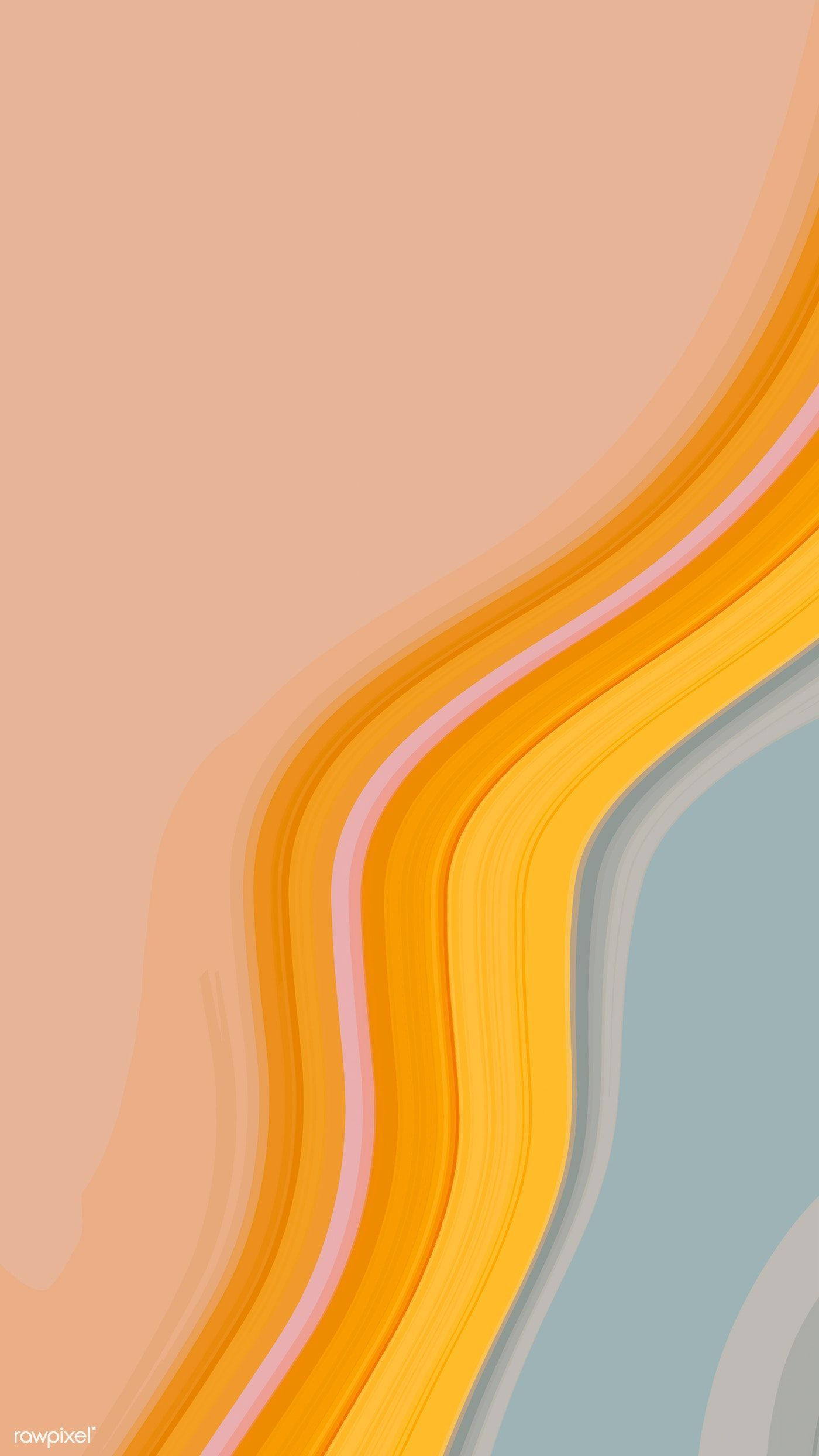 Orange and blue fluid patterned mobile phone wallpaper vector 4k iphone and mobi… - Modern