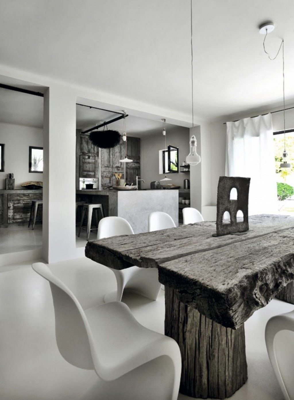 Home amazing grey and white dining room with solid wood liked