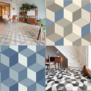 Cushioned vinyl flooring sheet cube it geometric design for Cushion flooring for kitchens
