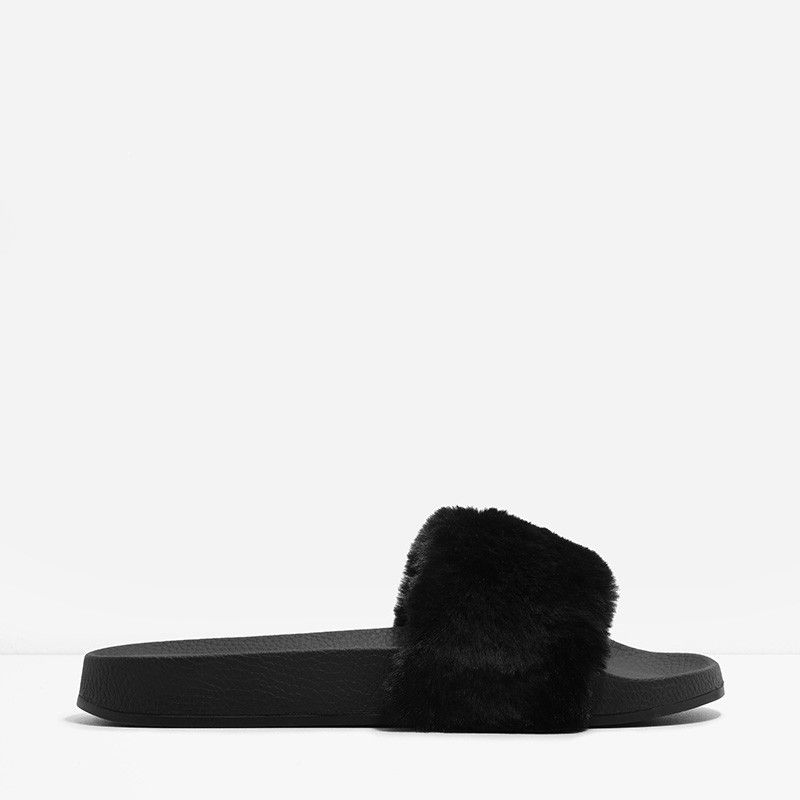 Black open-toe slip-on sliders featuring a furry design.