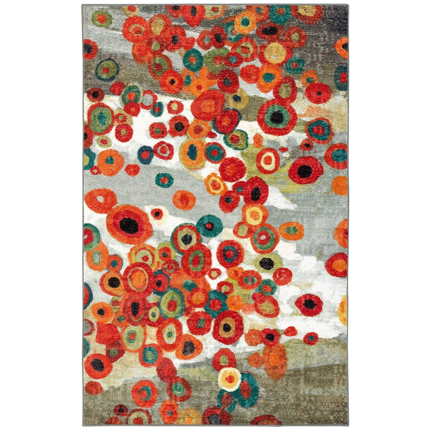 2'6 x 3'10 Floral Artistic Color Area Rug Sophisticated Intelligent Intellectual Painting Wall Fancy Contemporary Flower Warm Living Room Powerful