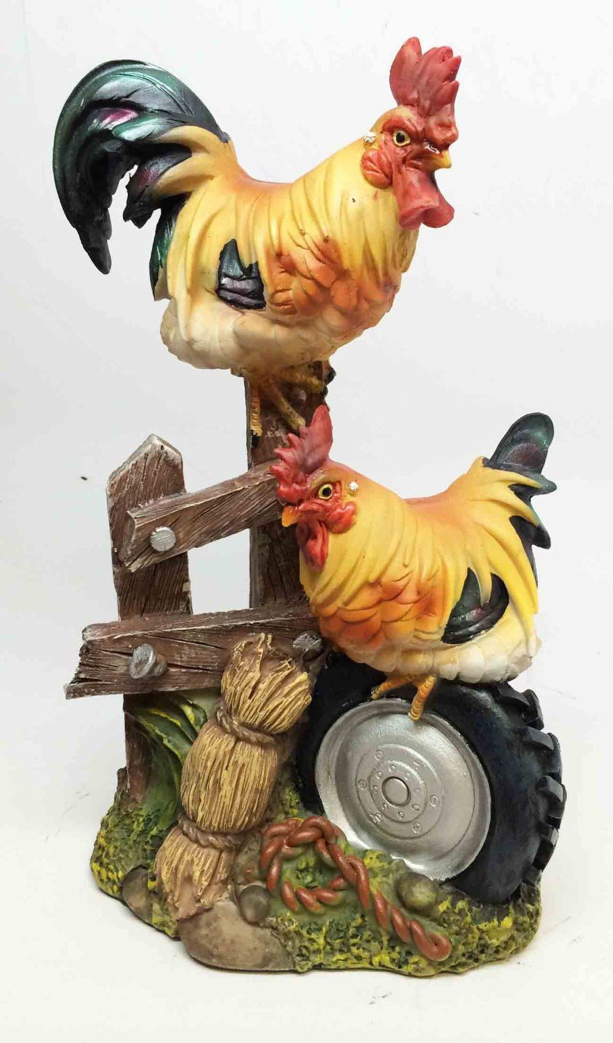 Vintage Rooster Chicken Hen Figurine Green and Yellow Standing ...