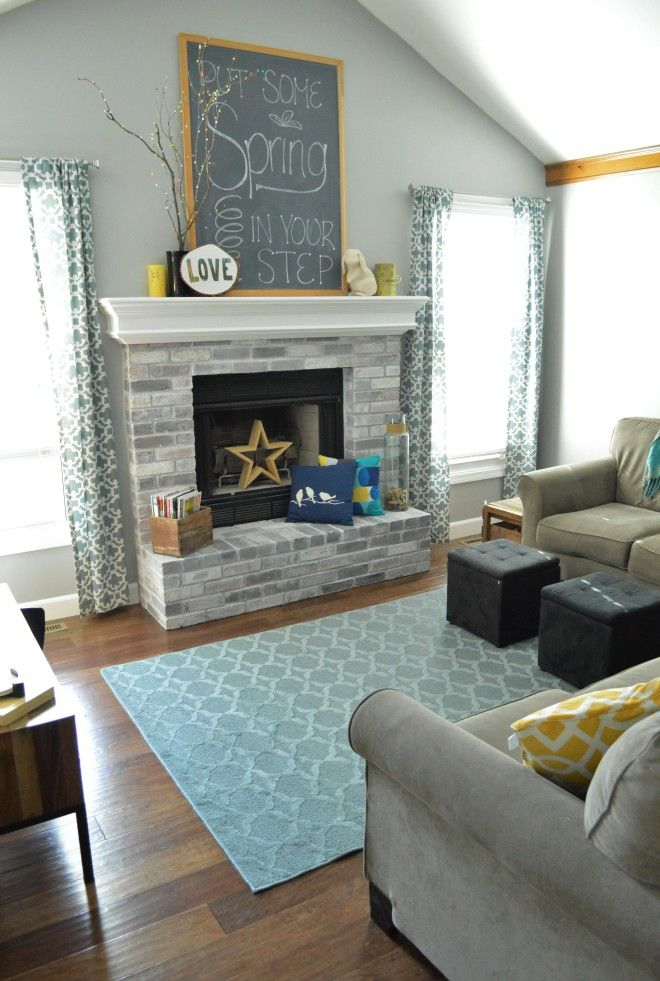 How to Whitewash Brick Our Fireplace Makeover Brick